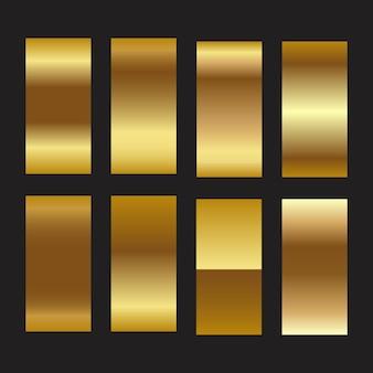 황금 호일 그라데이션 질감 배경 금 구리 황동 및 금속 세트 템플릿