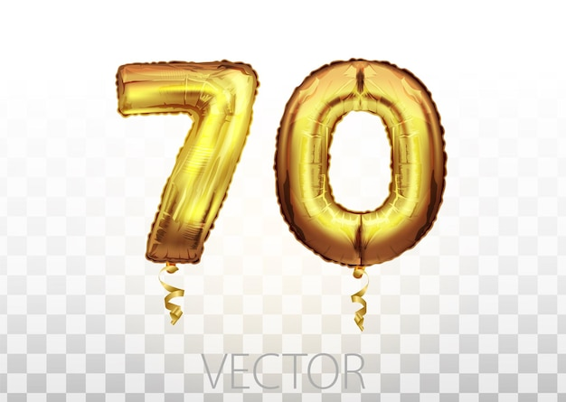Golden foil number seventy metallic balloon. party decoration golden balloons. anniversary sign for happy holiday, celebration, birthday, carnival, new year. metallic design balloon.