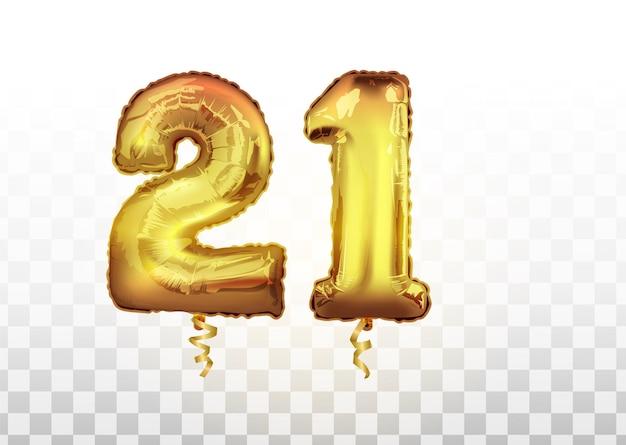 황금 호일 번호 21 금속 풍선입니다. 파티 장식 황금 풍선입니다. 행복한 휴가, 축하, 생일, 카니발, 새해를 위한 기념일 기호. 메탈릭 디자인의 풍선.