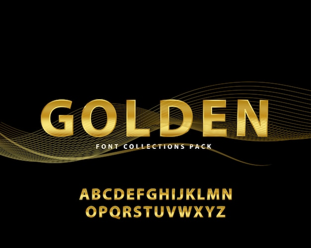 Golden font luxury set