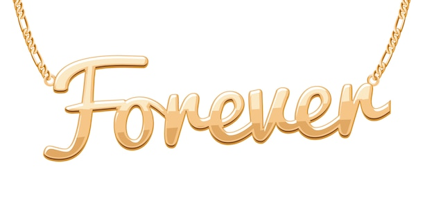 Golden forever word pendant on chain necklace. jewelry .