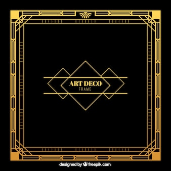 Golden frame in art deco style