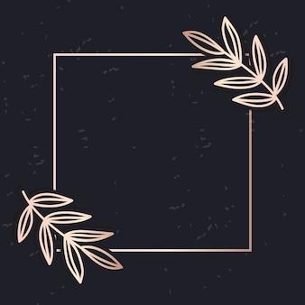 Golden frame art vector leaves elegant background