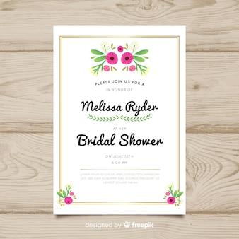 Golden frame bridal shower card template