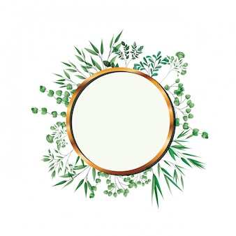 Golden frame circle with foliage isolated