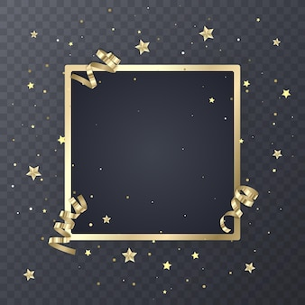 Golden frame design festive on transparent.
