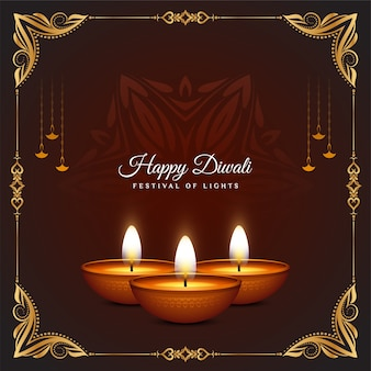 Golden frame design happy diwali festival celebration background