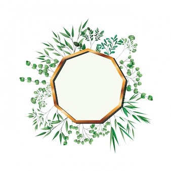 Golden frame enegon with foliage isolated