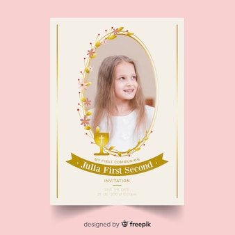 Golden frame first communion invitation