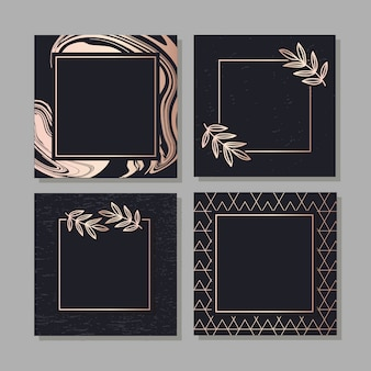 Golden frame fluid art vector geometric elegant background cover set texture