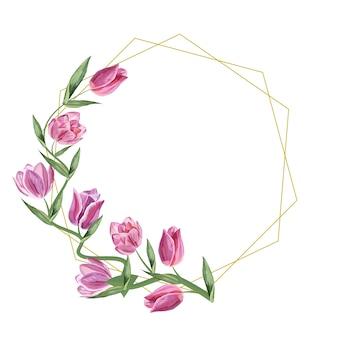 골든 프레임 기하학적 튤립 꽃