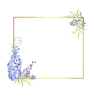 Golden frame gold with flowers and leaves