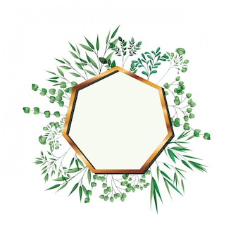 Golden frame heptagon with foliage isolated