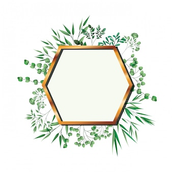 Golden frame hexagon with foliage isolated