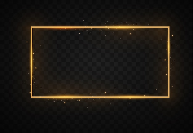 Golden frame, light effects, square, round, oval borders.
