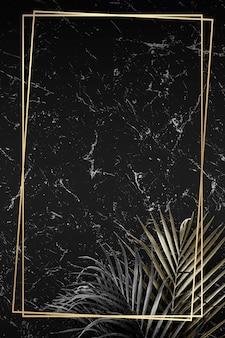 Golden frame on marble background