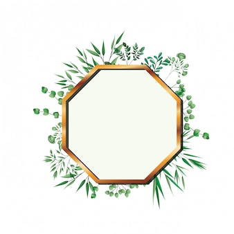 Golden frame octagon with foliage isolated