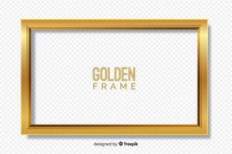 透明な背景にゴールデンフレーム