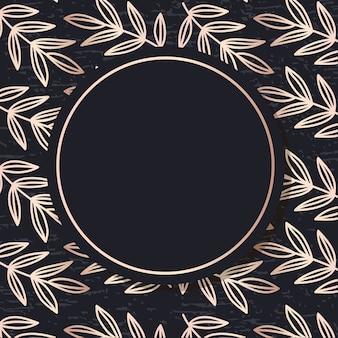 Golden frame pattern art vector leaves elegant background