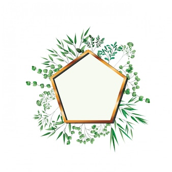 Golden frame pentagon with foliage isolated