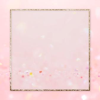Golden frame on pink glittery background