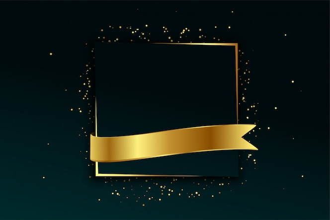 Golden frame and ribbon background with text space