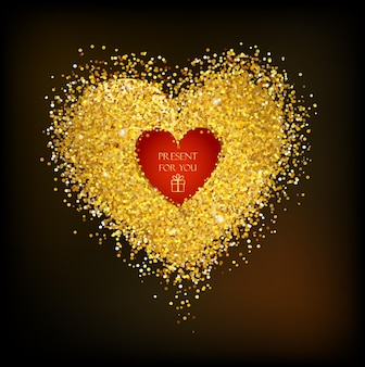 Golden frame in the shape of a heart made of confetti background