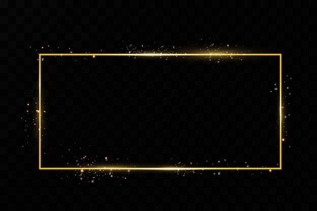 Premium Vector Golden Frame Shining Rectangle Isolated On Black Transparent Background
