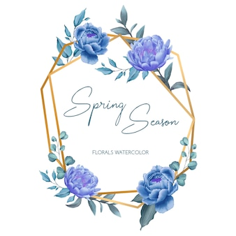 Golden frame spring season of wedding invitation template with blue rose and violet peoni ornament