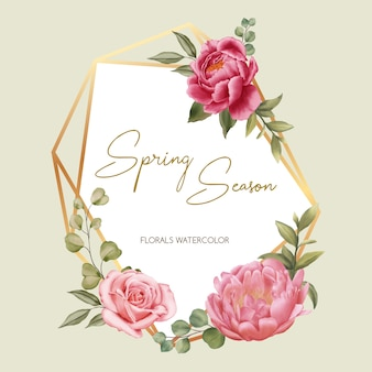 Golden frame spring season of wedding invitation template with red peoni and pink rose ornament