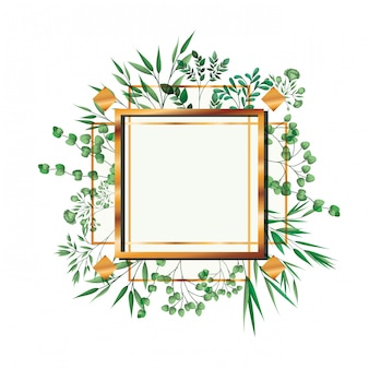 Golden frame square with foliage isolated