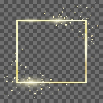 Golden frame template with glitter effect for banner and poster. gold square shape border.  isolated on transparent background