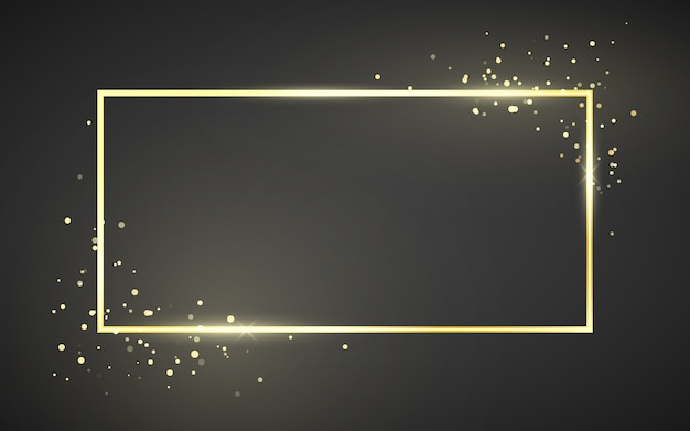Golden frame template with glitter effect for banner, poster or postcard. gold frame with space for text. isolated on dark background
