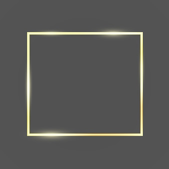 Golden frame template with glitter effect for banner, poster or postcard. gold frame with space for text.