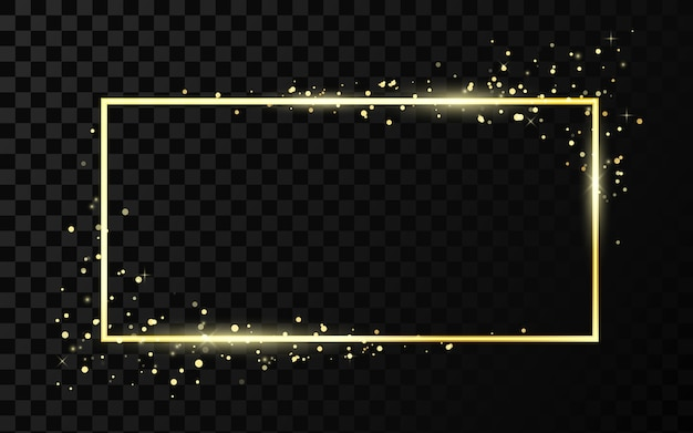 Golden frame template with glitter effect