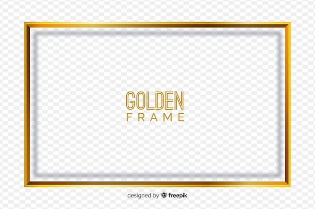 Golden frame on transparent background