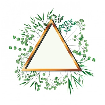 Golden frame triangle with foliage isolated