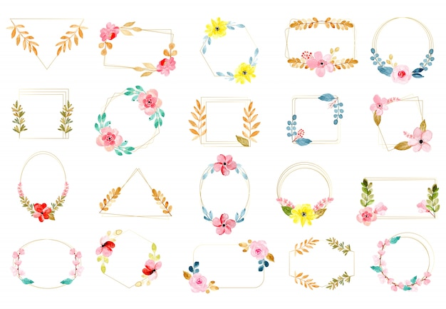 Golden frame and watercolor floral collection
