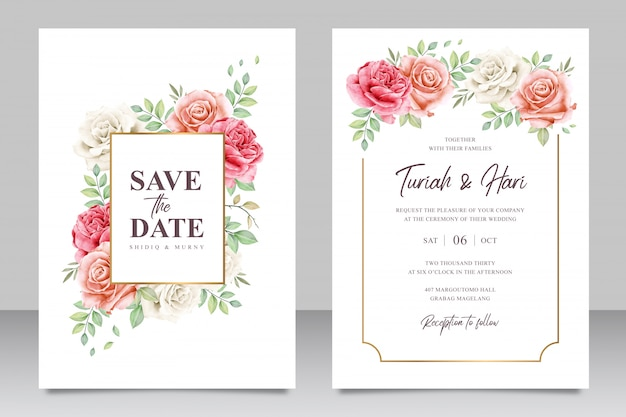 Golden frame wedding invitation card set template with beautiful flowers