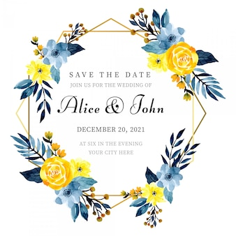 Golden frame wedding invitation card template with floral watercolor