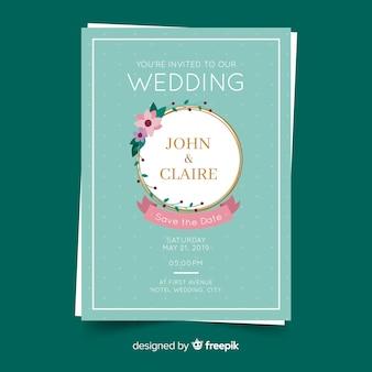 Golden frame wedding invitation template