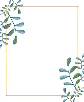 Золотая рамка с украшением веток