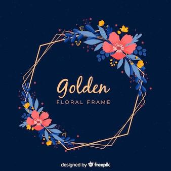 Cornice dorata con fiori