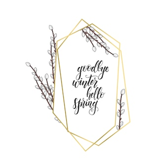 Golden frame with geometric diamond shapes and hand drawn  willow