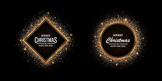 Golden frame with glitter for christmas shining frame with lights effects glowing luxury banner