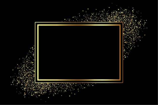 Golden frame with glitter scatter