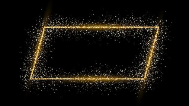 Золотая рамка с блеском, блестками и бликами на темном фоне. пустой роскошный фон. векторная иллюстрация.