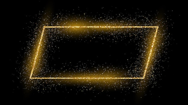 Golden frame with glitter, sparkles and flares on dark background. empty luxury backdrop. vector illustration.