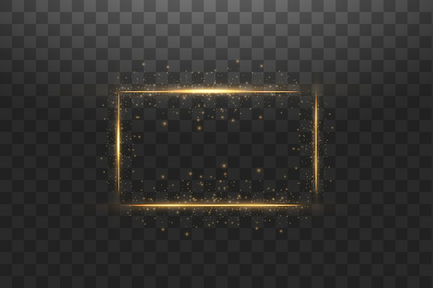 Golden frame with lights effects background