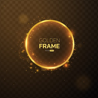 Golden frame with lights effects circular banner.